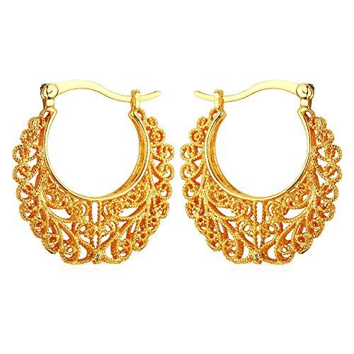 U7 Vintage 18K Gold Plated Earrings (Gold) - 1