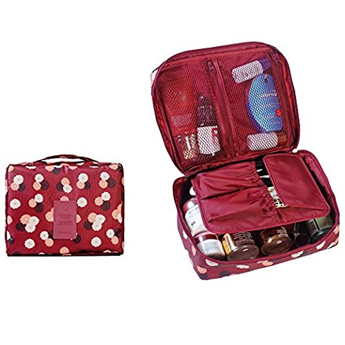 SHUYUE Travel Organizer Cosmetic Pouch Foldable Makeup Tote Bag Brush Pouch Toiletry Kit Women Jewelry Organizer Electronics Accessories Pockets (Wine Red - Wine Daisy