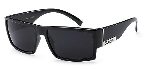 432b299a0d Amazon.com  Locs Mens Flat Top Gangster Sunglasses Black Silver ...