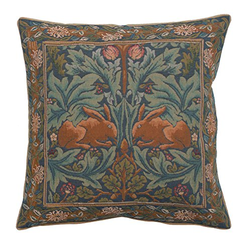 Woven European jacquard tapestry cushion covers. Brother Rabbit 1 - William Morris. 19 x 19