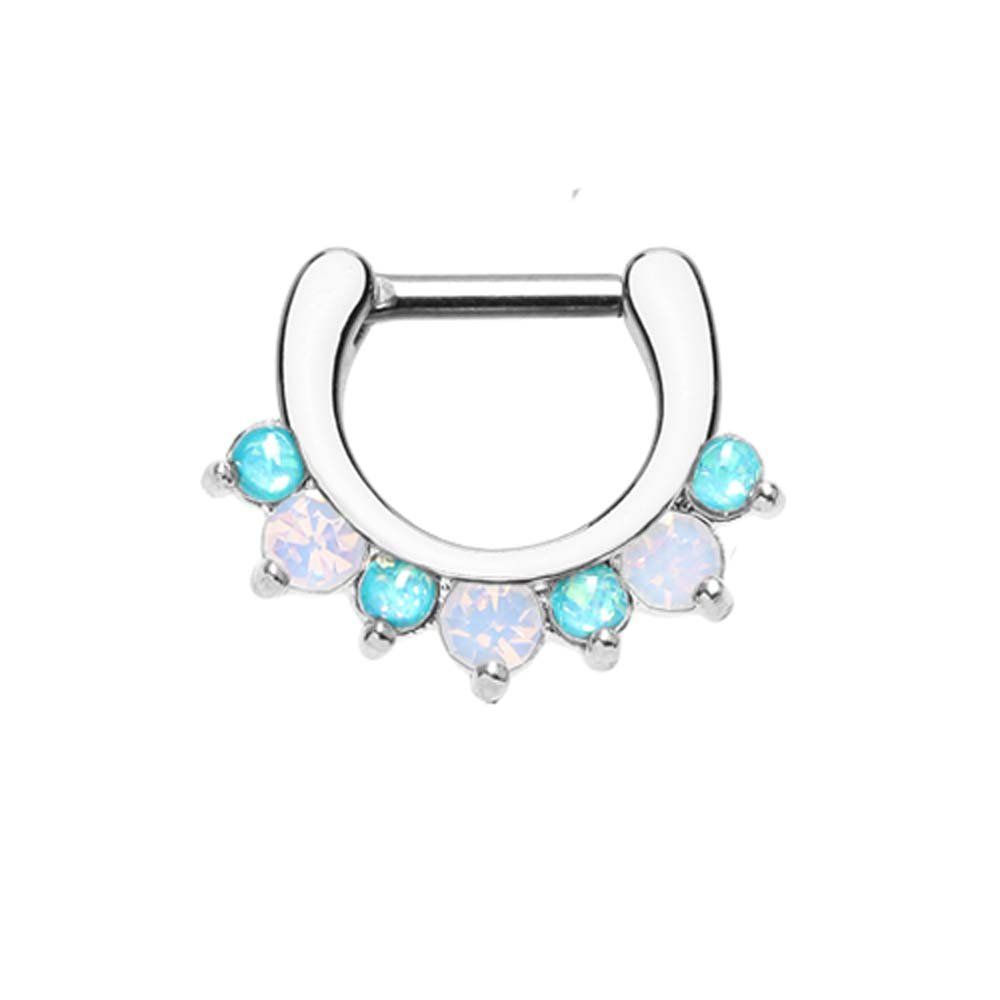 16G - Sold Infividually 1.2mm Classic Prong White Opalescent Gem Septum Clicker