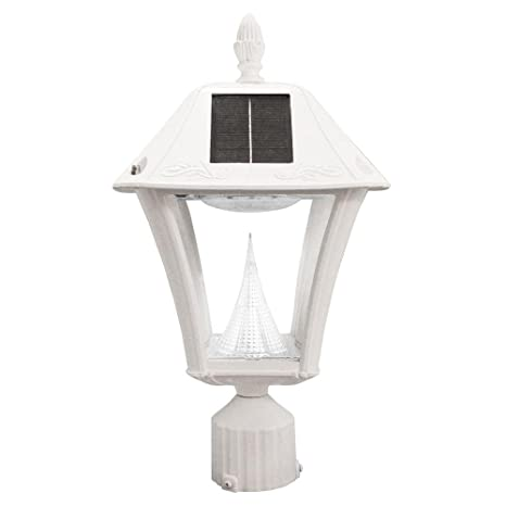 de45f60a39a Image Unavailable. Image not available for. Color  Gama Sonic Baytown II  Outdoor White Resin Solar Post Wall Light with Warm-White