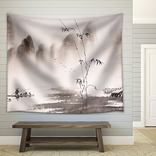 Chinese Landscape Ink Painting Fabric Wall