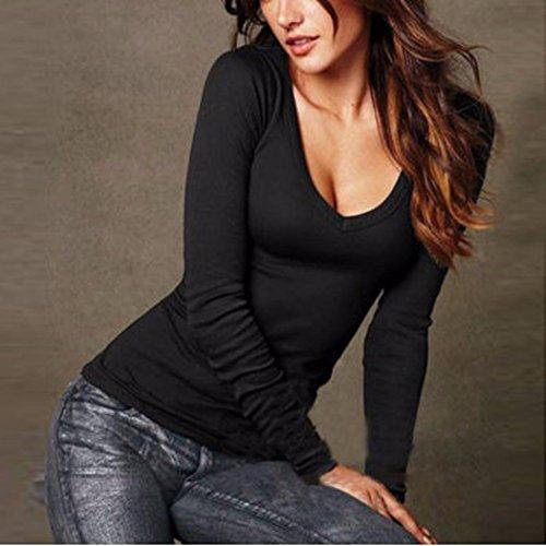 Neck Blouse Noir Fashion V Shirt Pingtr Blouse T Tops Casual Femmes HxfqYFa
