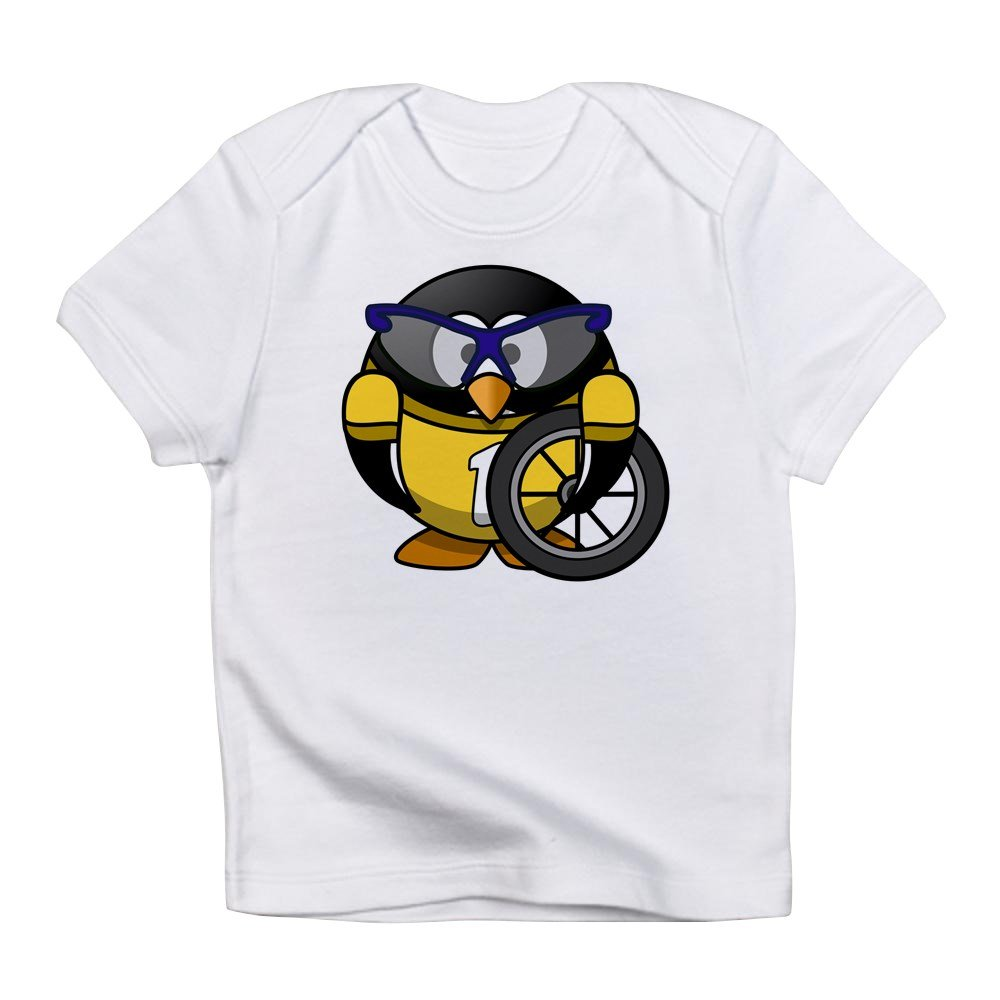 Cloud White Cyclist in Yellow Jersey Truly Teague Infant T-Shirt Little Round Penguin 18 to 24 Months