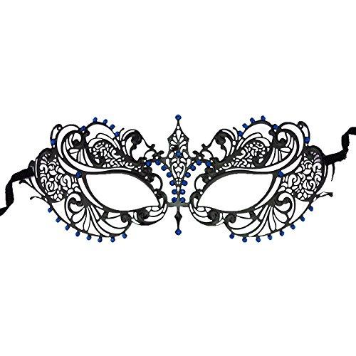 [Adorox Laser Cut Metal Venetian Pretty Masquerade Mask Rhinestones Mardi Gras Costume (Blue)] (Blue Mardi Gras Mask)