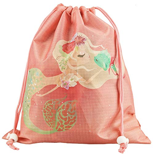 (Designhoarder Little Mermaid Birthday Party Favor Bags for Kids Adults 10 Pack Mermaid Baby Shower Pool Party Under The Sea Party Supplies Drawstring Goodie Bags Coral Pink)