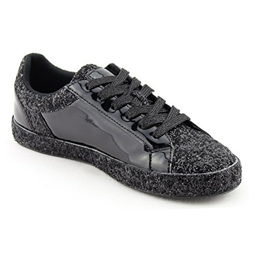 Womens Sneaker Flats Fashion Sneaker Glitter Metallic Lace up Sparkle Slip On Street Casual Running Shoes