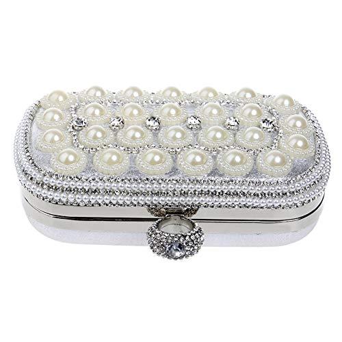 à Main Bourse Femme Bandouliere Soiree Sac Pochette Sac pour Chaîne Bal Fête Clutch Silver Mariage Maquillage 4WXq8qBY