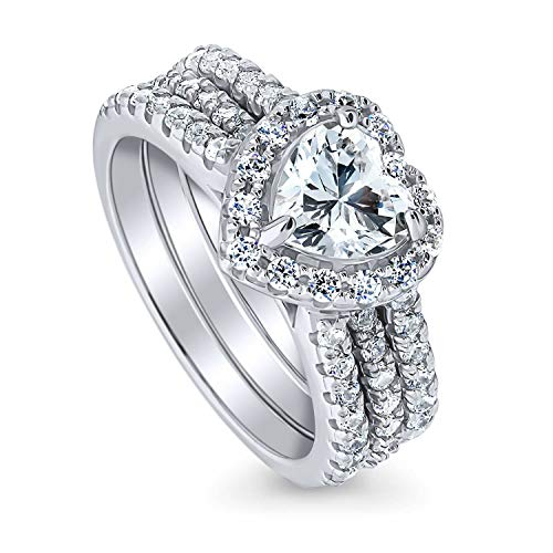 BERRICLE Rhodium Plated Sterling Silver Heart Shaped Cubic Zirconia CZ Halo Engagement Wedding Insert Ring Set 2.21 CTW Size 10 ()