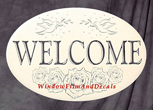 Horizontal Oval Welcome Sign Etched Window Decal Vinyl Glass Cling - 16