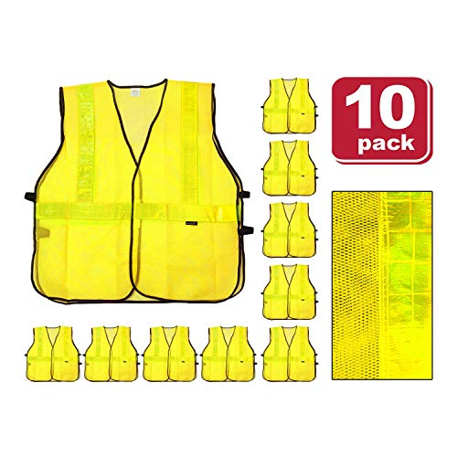 SAFE HANDLER Lattice Reflective Safety Vests | Lightweight and Breathable, Fluorescent Fabric, Hook & Loop Closure, Mesh Fabric, YELLOW, X-Large, 10 PACK