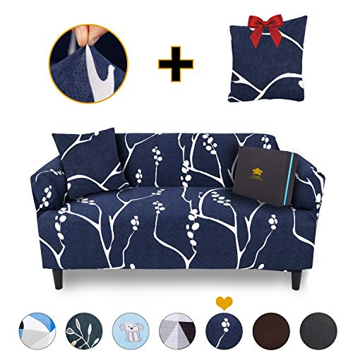 ChicCovers Sectional Couch Covers for 3 Cushion Couch Cover | Sofa Covers for 3 Cushion Couch | Sofa Cover Sofa Slipcover w/Free Pillowcase Cover (Large Sofa (3-Seater), Midnight Branch Blue)