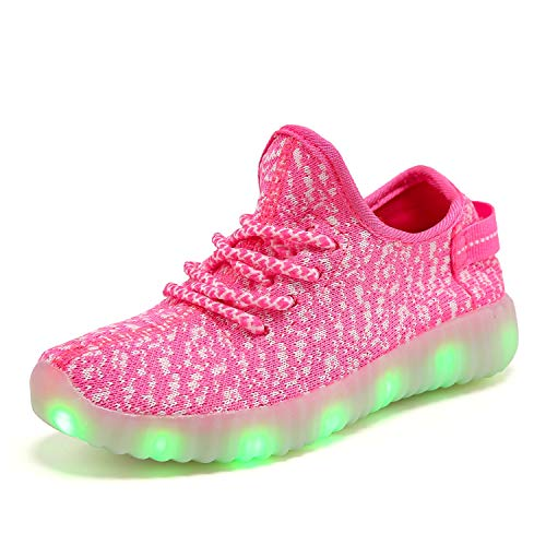 XZSPR Kids Boys Girls Breathable LED Light Up Flashing Sneakers for Children Shoes(Toddler/Little Kid/Big Kid) 3001-Pink-34]()