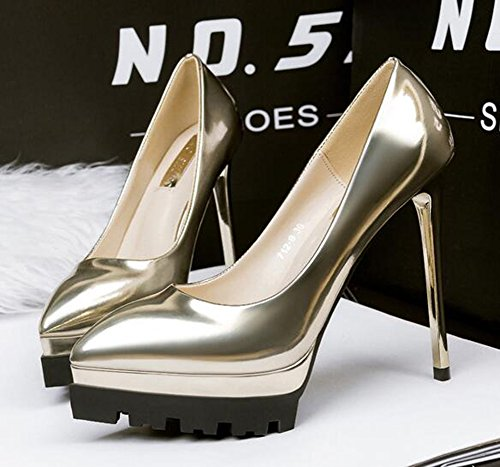 CHFSO Womens Fashion Stiletto Solid Pointed Toe Low Top Slip On High Heel Platform Pumps Shoes Gold ESc8EaIo7