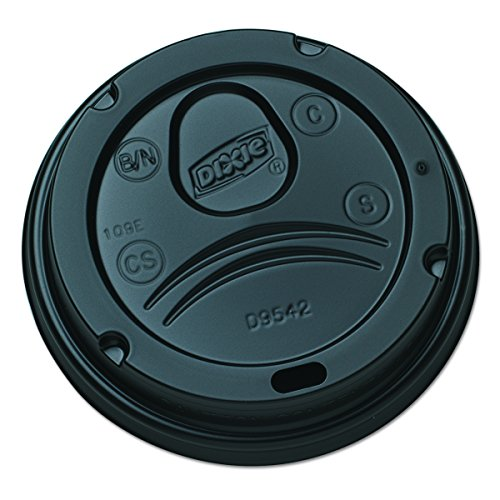 Dixie D9542B Dome Lid for 10-16 oz PerfecTouch Cups and 12-20 oz Paper Hot Cups, Black (Case of 10 Packs, 100 Lids per (Dome Sip Lid)