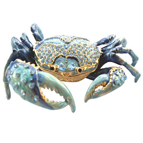 Box Package (Blue Crab Enameled Jeweled Box, Package Includes a Tropical Magnet)