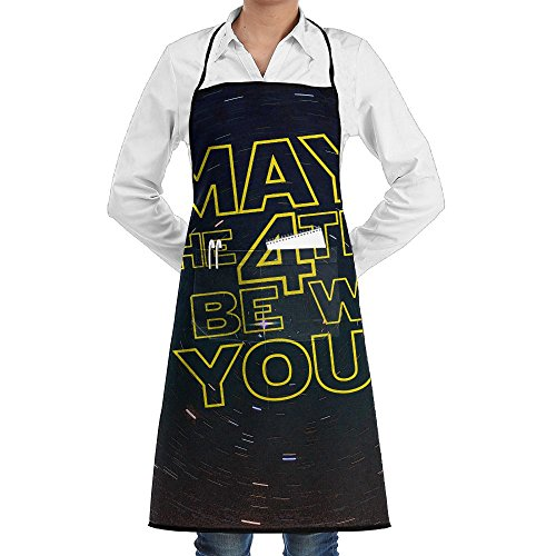 May The 4th Be With You Bib Apron With Convenient Pockets For Women And Men