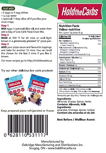 Low Carb Pizza Crust Mix, Very Low Calorie, Gluten Free, No Added Sugar, No Sweeteners, No Preservatives, Made in Canada - makes one large 12'' low carb pizzas by HoldTheCarbs (Image #5)