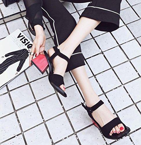 Negro del Mujeres Libre Talón pie de Aire del bajo del Zapatillas Sandalias Manera Verano Las de Sandalias la Sandalias Comodidad ZXMXY al Zapatillas Zapatillas de Dedo del y la Cpt7qwffnx