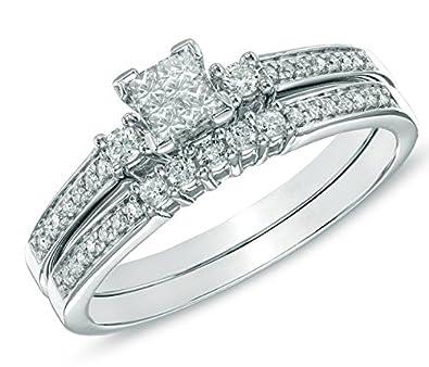 2 05 Carat Antique Wedding Ring Set Princess Cut Diamond On
