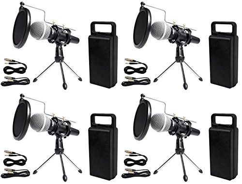 - (4) Rockville Dynamic Podcasting Podcast Microphones+Stands+Pop Filters+Cables