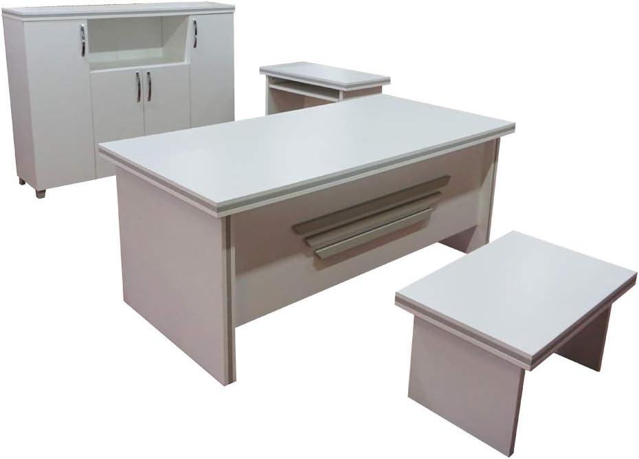 Casa Mare Modern New Star 5 Piece Office Furniture Set | Office Desk | Home  Office Furniture | White Office Furniture | White and Metalic Grey (71\