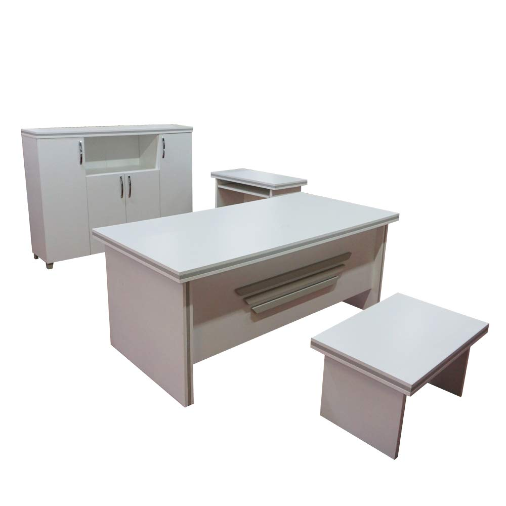 new arrival f4d71 be97c Casa Mare Modern New Star 5 Piece Office Furniture Set | Office Desk | Home  Office Furniture | White Office Furniture | White and Metalic Grey (71