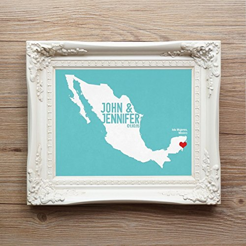 Meixco or ANY LOCATION Wedding Map Art Print Wall Decor - First Anniversary Guestbook State Mexico (Party City Utah)