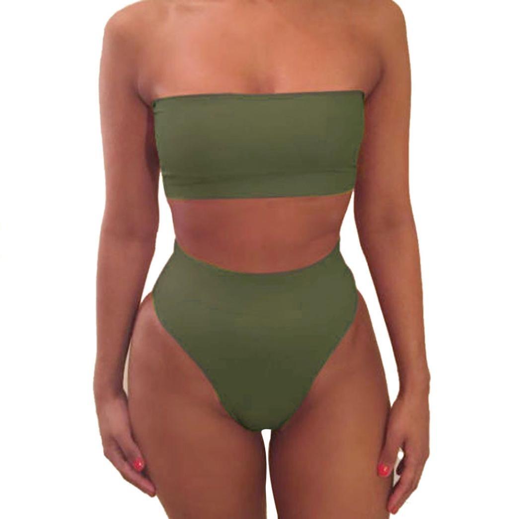 160034ea4c Lolittas Summer Womens' Sexy, Boob Tube Top Bare Top Two Piece Push Up High  Waist,Multi Colour Bikini Set Swimsuit Swimwear Size S-XL: Amazon.co.uk: ...