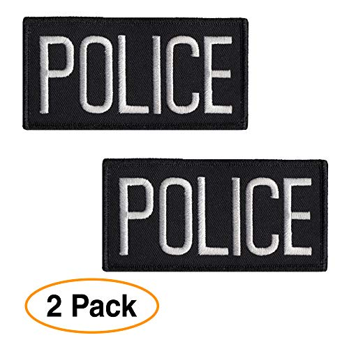 (Police Officer Patch Chest or Shoulder (2 Pack) 4 x 2 inches Embroidered White on Black )