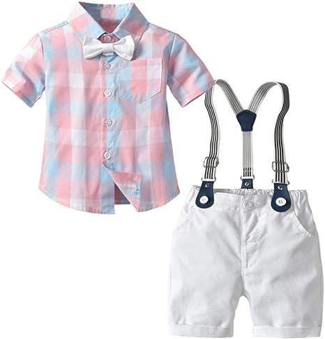 AEPEDC Camisa a Cuadros Rosa Ropa para niños Conjunto de Ropa para niños pequeños Traje de Verano para bebés Pantalones Cortos Camisa para niños Traje de Fiesta de Bodas 1-5 años: Amazon.es: