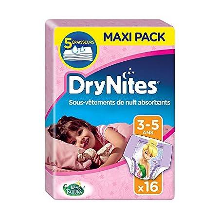Huggies Drynites 3-5 ans Fille (16-23 kg) - Sous-Vê tements de Nuit Absorbants pour Enfants qui Font Pipi au Lit - x64 Culottes (Lot de 4 Paquets de 16) 2156191