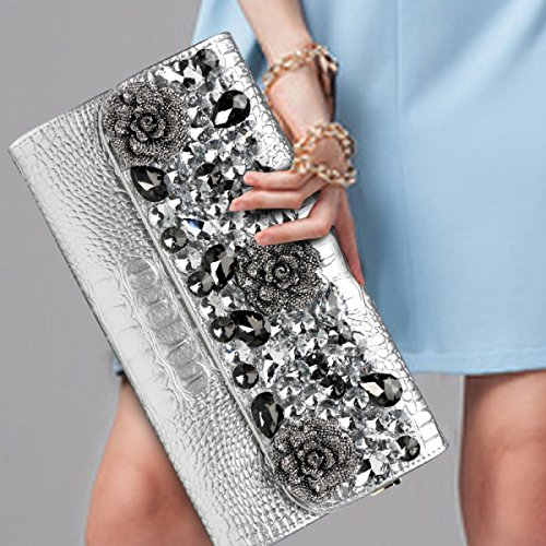 Ladies Shoulder Clutch Large Bag Capacity Handbags Luxury Bag Messenger Rhinestone White Fashion Shiny Evening 4rSqaU4