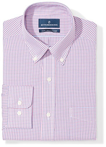 Buttoned Down Men's Classic Fit Button-Collar Pattern Non-Iron Dress Shirt, Berry/Red/Navy Small Tatersol, 14.5