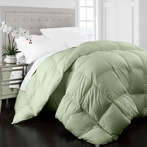Beckham Hotel series 1400 Series Egyptian of quality Cotton Goose al choice Comforter - 750 Fill ability - Premium Hypoallergenic All Season Duvet - King/Cal King - Sage