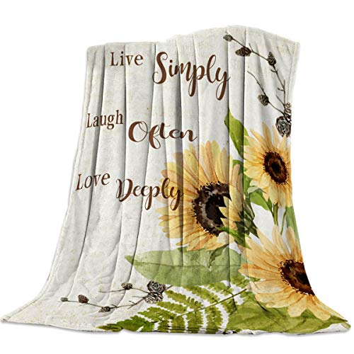 Fleece Blanket Throw Blanket for Bed or Couch,Super Soft Microfiber Fuzzy Decorative Flannel Blanket for Adults Kids,Sunflowers Live Simply Laugh Often Love Deeply Old Newspaper (60 x 80 Inches)