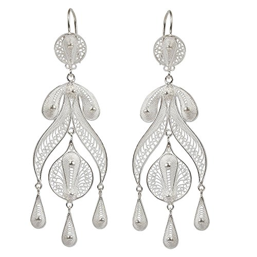 NOVICA .925 Sterling Silver Chandelier Earrings 'Filigree ()