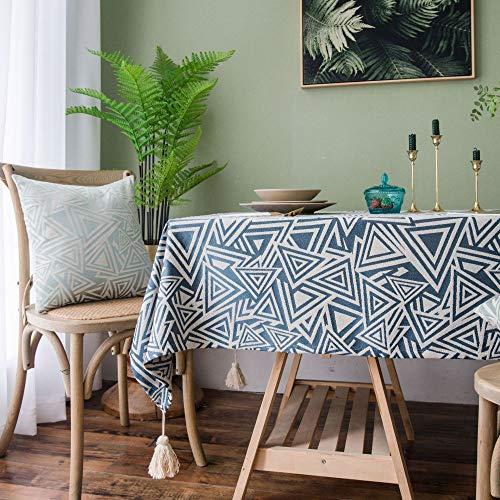 LMDY decoracion del hogar Mantel Impermeable Mesa de cafe salon imitacion Chino algodon y Lino Engrosado Mesa de Comedor Simple Mantel Azul 135 * 300 cm