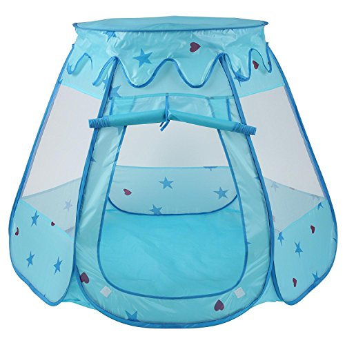 Peradix Kinderspielzelt Bällebad Zelt mit Tragtasche für 1-8 Jahre alte Kinder zu Hause und Outdor (ohne Bälle) (Blau)