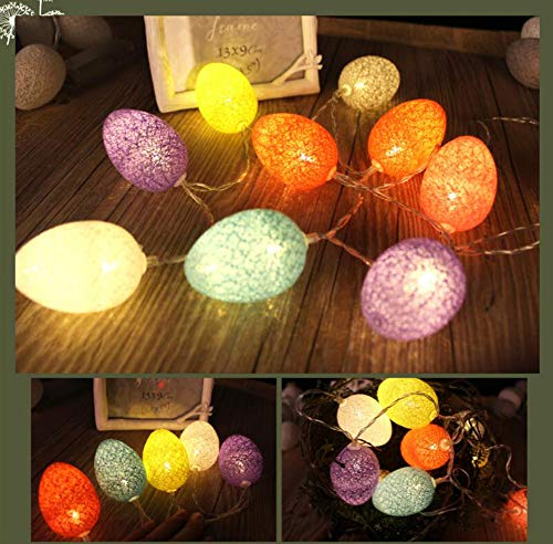UNIKbrush LED Egg Cotton Thread String Lights for Easter Home Birthday Party Decoration (Battery Power/1.8m/10 LEDs, ()