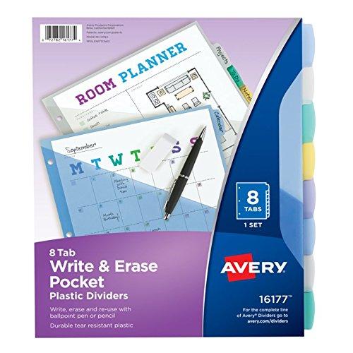 Avery 16177 Write & Erase Big Tab Plastic Dividers w/ Slash Pocket, 8-Tab, Letter