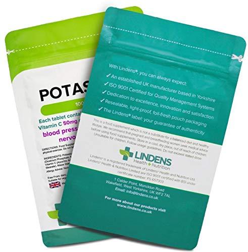 Lindens Potasio 200 mg en comprimidos | 100 Paquete | Contiene 50 mg de vitamina C por comprimido y contribuye a la normalidad de la presión arterial, ...