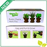 Window Garden Rustic Charm Herb Trio Grow Kit with Planter Pots, Slate Markers, Fiber Soil, Germination Bags, Basil, Chive and Sage Seeds