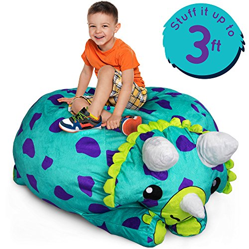 Stuffums Turquoise Triceratops Dinosaur - 3-foot Stuffed Animal Storage Bean Bag Chair Pouf with Breathable Mesh Bottom - Holds Over 50 Plushies! (Bean Bag Bear)