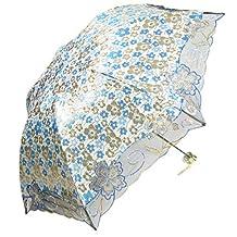 kilofly Anti-UV Folding Parasol Umbrella with Tinsel Embroidery, UPF 40+, Blue