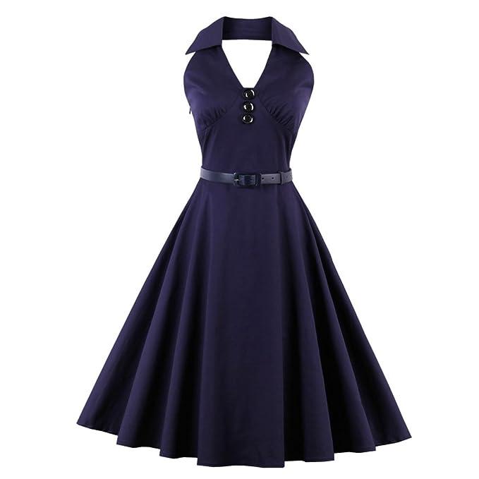 50s Estilo Halter Azul Vintage Dress para la Mujer Plus Size Vestidos de Verano 2017 Vestidos