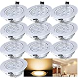 Hengda Recessed LED Spotlight Set 230 V for Bathroom Living Room Bedroom Modern 10pcs 7W Warmweiß