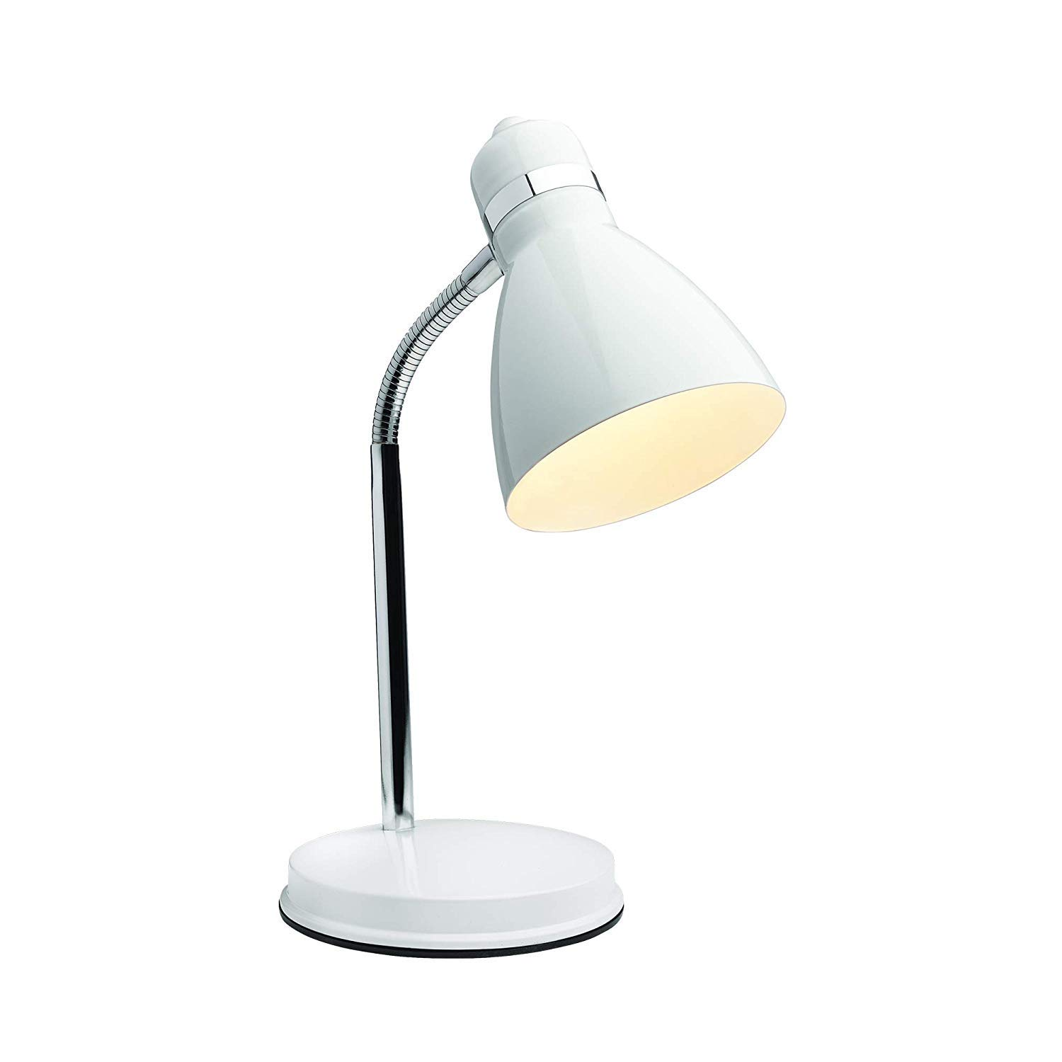 Newhouse Lighting NHDK-OX-WH Oxford Desk, Flexible Goose Neck Table Lamp with 40 Watt LED Bulb Included, White