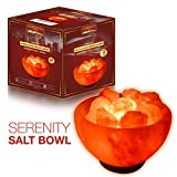Manhattan Serenity Firebowl Himalayan Salt Lamp. 6ft UL-Certified dimmer switch, 15watt bulb. Carved salt bowl with natural salt chunks on a neem wooden base.